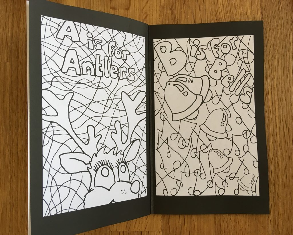 Pages from A Crackers Christmas Colouring Book by Heidi Piercy